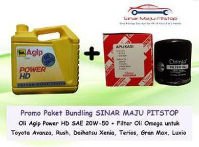 PROMO Paket Bundling Oli Mobil Agip Power HD 20W-50 & Filter Oli Ome o
