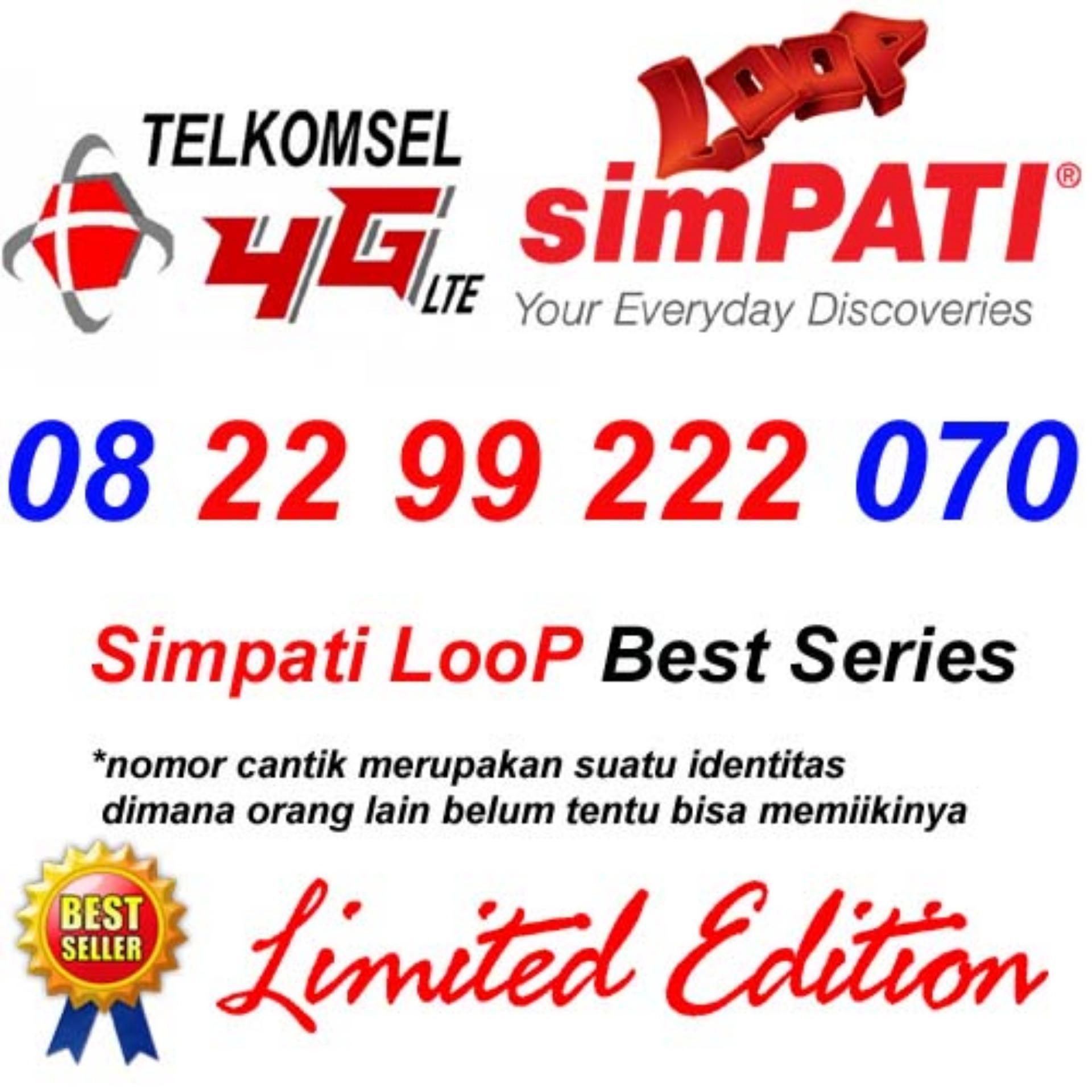 Telkomsel Simpati Loop 4G Lte 08 22 99 222 070 Kartu Perdana Nomor Cantik