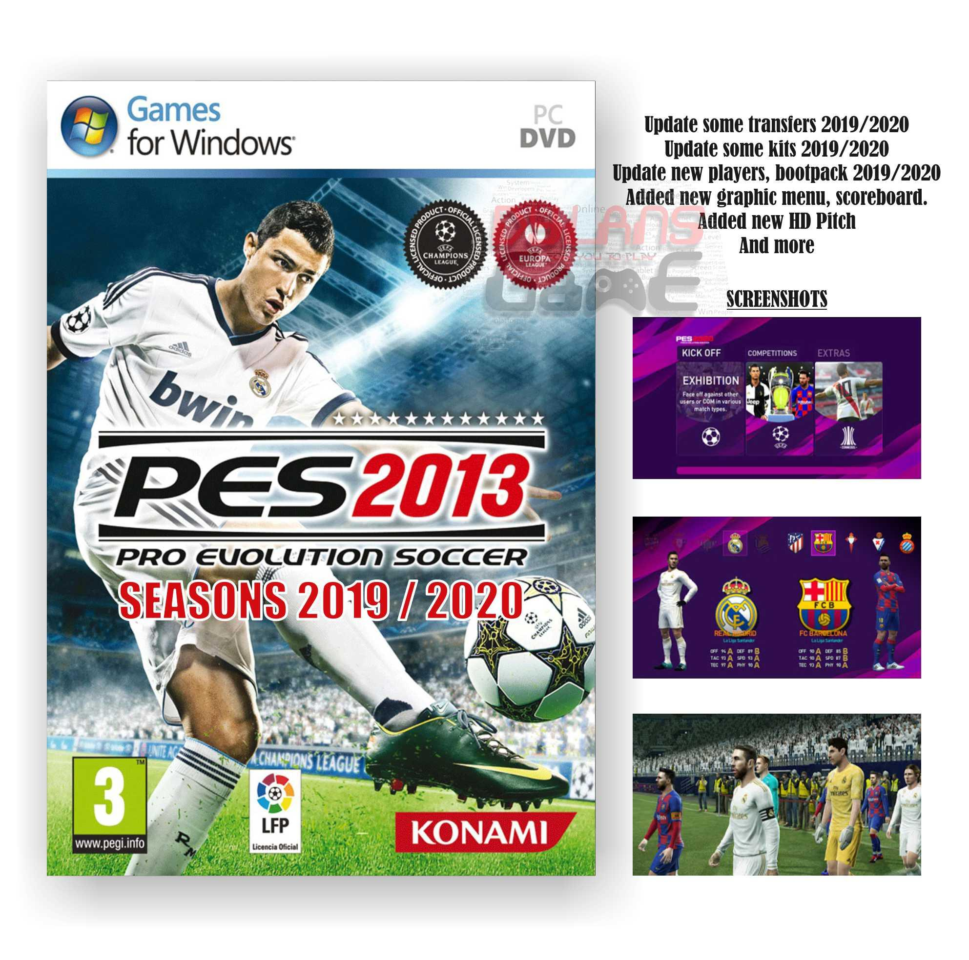 PES13 PRO EVOLUTION SOCCER 2013 + SEASON UPDATE 2019/2020 PC GAME DVD GAME PC LAPTOP