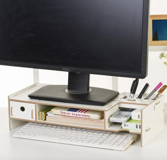 Best Mini Desk Meja Laptop, Belajar Dan Rak Sebaguna - Putih By Best Furniture