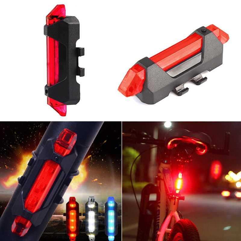 Lampu Sepeda 5 LED Taillight Rechargeable DC-918 Tail Light for Bike Rechargeable 4 Mode