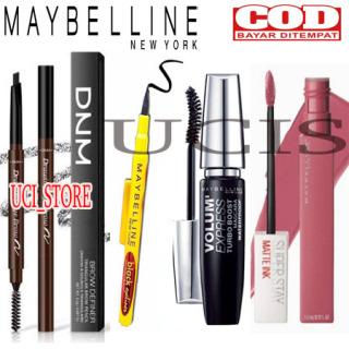 UCIS - PROMO PAKET KECANTIKAN WAJAH 4IN1 (maskara hypercurl + eyeliner 24H + Drawing Eye Brow Pencil + lipcream maybelline matte )ucis thumbnail