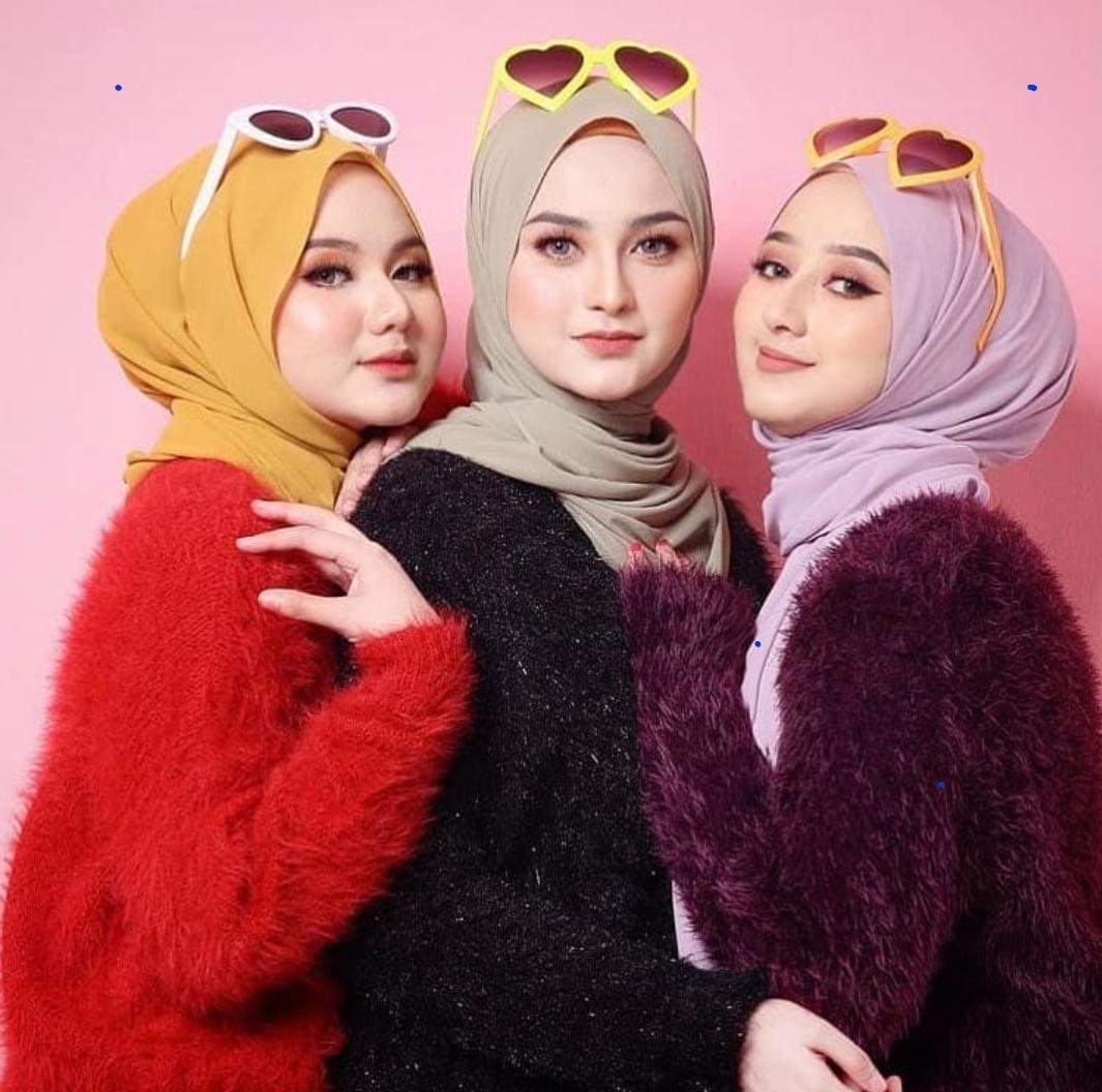 Jilbab / Hijab Pashmina SABYAN DIAMOND Italiano Stretch - Kerudung pasmina polos NEW ,Wanita hijab