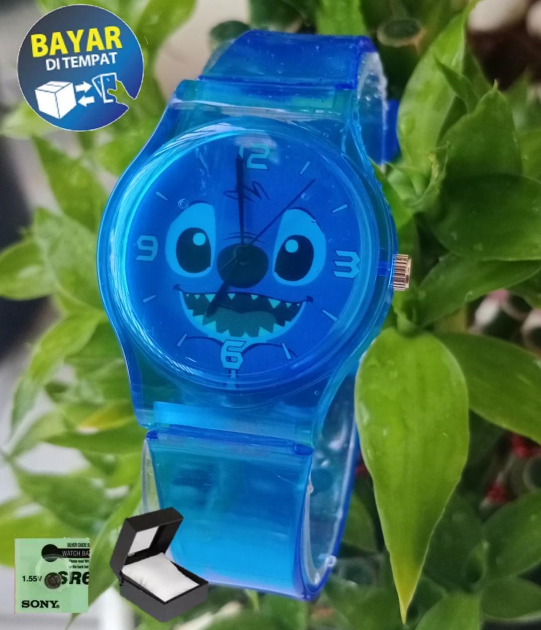 jam tangan wanita Q&Q karakter STITCK lucu Jelly Transparant