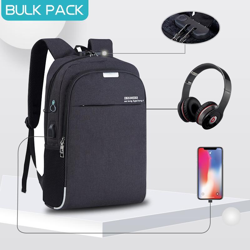 Men Women Anti-theft Laptop Notebook Backpack Rucksack USB Charge School Bag