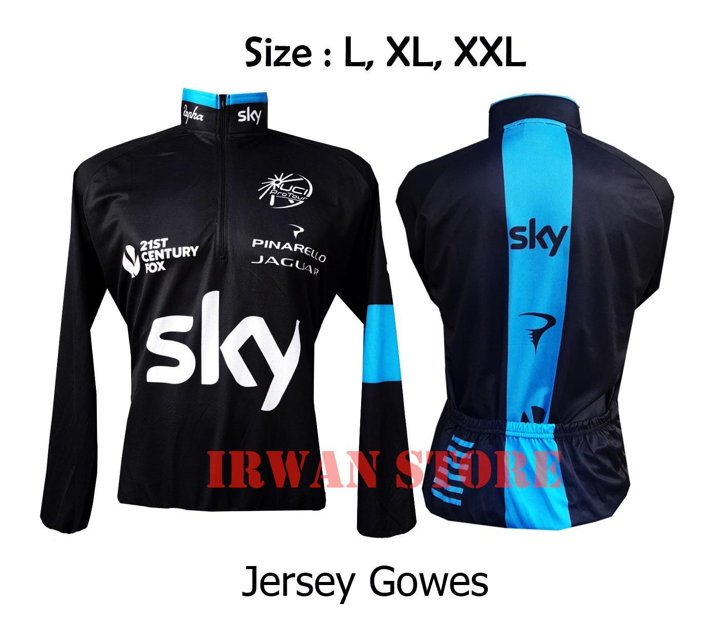 Baju Jersey Sepeda SKY Hitam lengan panjang DEWASA