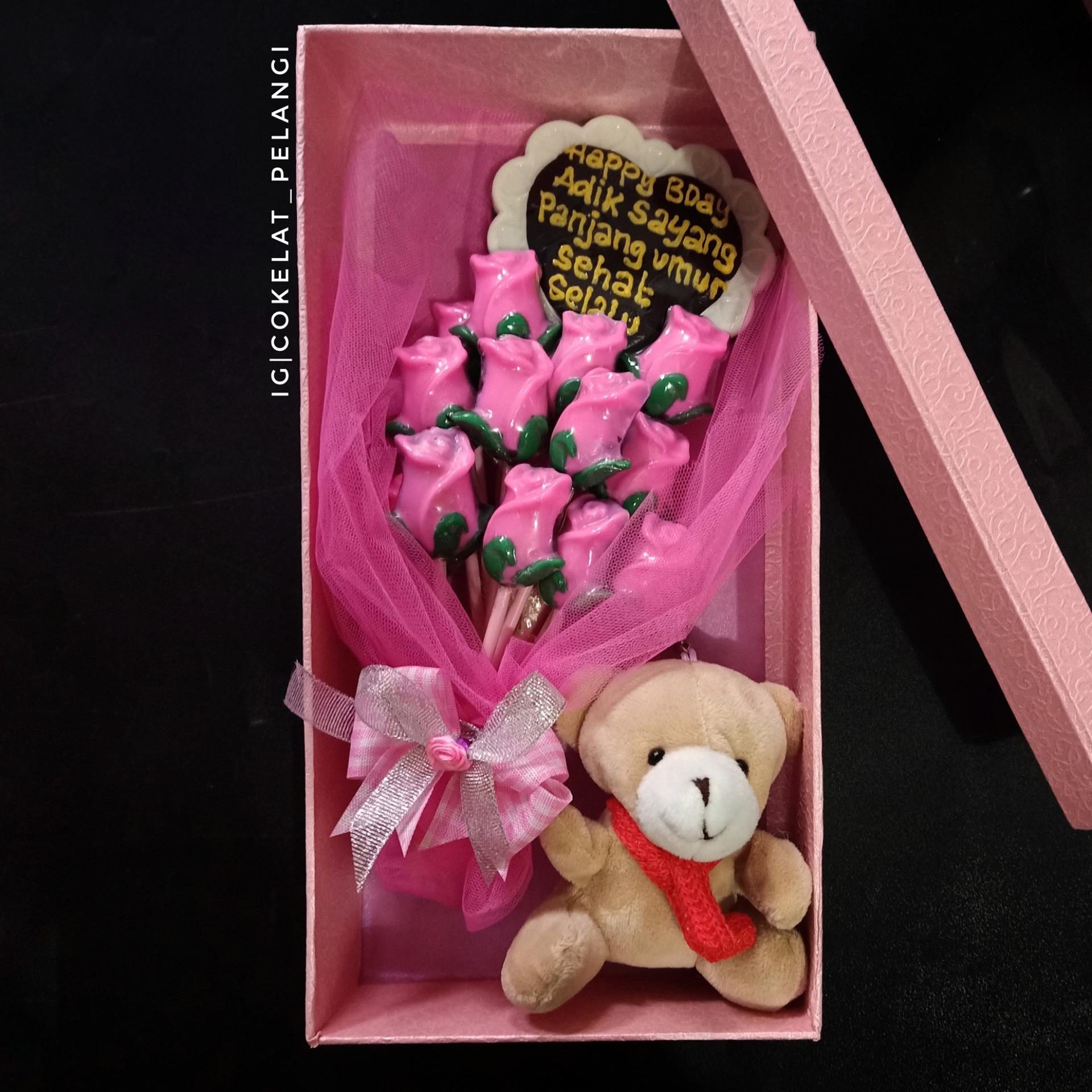 Bouquet Bunga Coklat Boneka Untuk Kado Hadiah Ulang Tahun Anniversary Pacar Suami Istri Lazada Indonesia