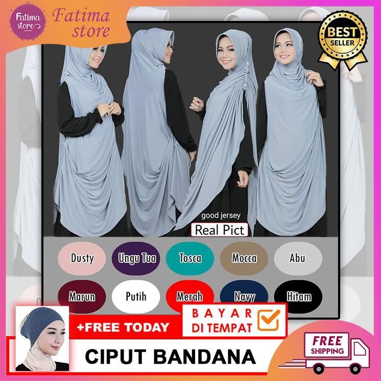Fatima-Store Khimar Chardy/Cardi Aliyya Gamis Syar'i Hijab Instan Kerudung Muslimah [FREE CIPUT BANDANA]
