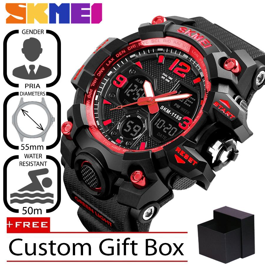 SKMEI 1155B Jam Tangan Pria Sport Analog - Digital Silikon PU 55 mm - Anti  Air 2a227900a4