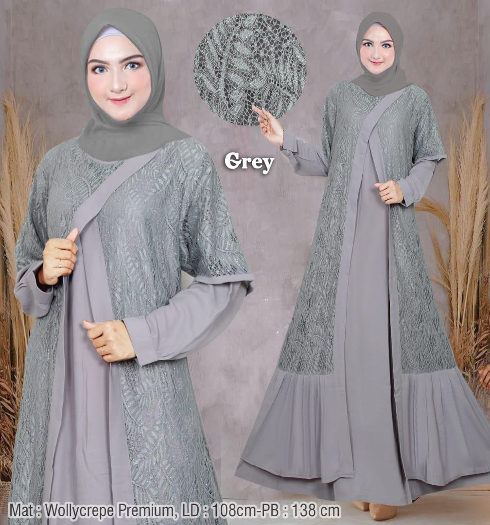 Gamis Wanita Terbaru 12 Cocok Buat Lebaran / Kondangan / Pesta / Outfit  Kantoran - Dress Muslimah Modern Motif Brokat - Baju Gamis Wanita Original
