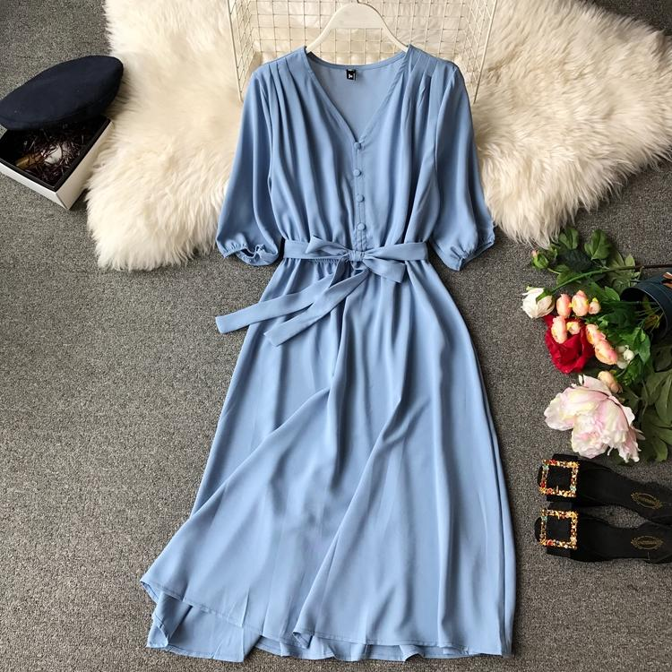 658362025c 2019 Spring And Summer Korean Style New Style Vintage Versatile Elegant  V-neck Waist Hugging