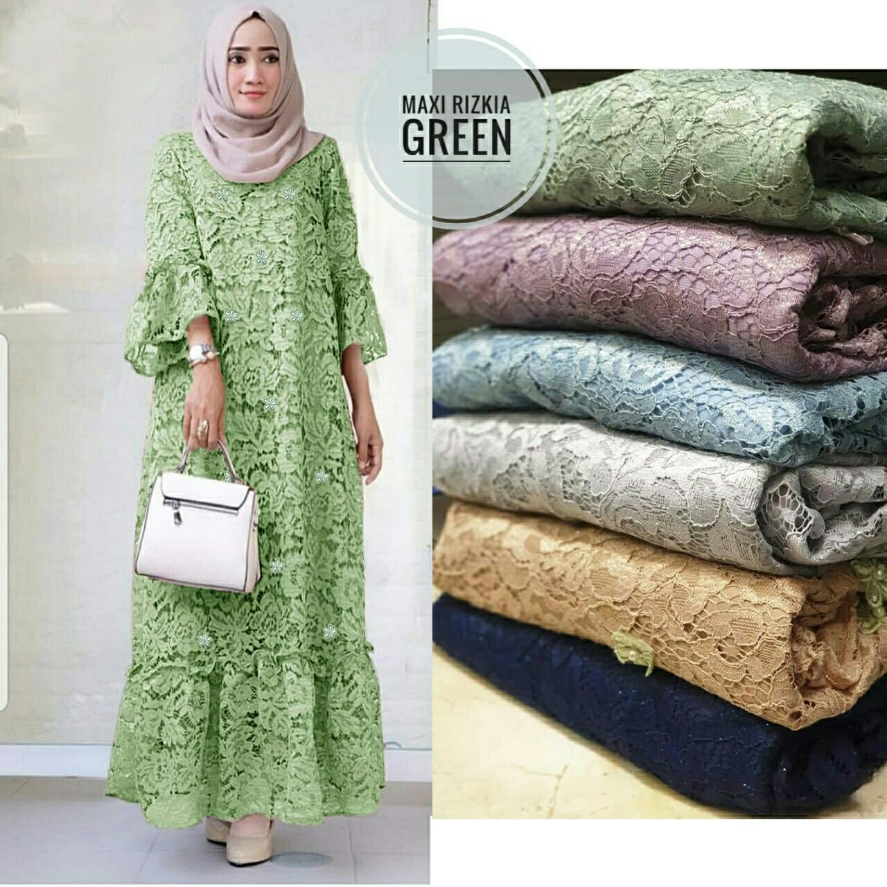 Grosir Hasanah Maxi Rizka / Maxi Full Brukat Panjang / Maxi Brukat Inport Fashion.. By Grosir Hasanah.