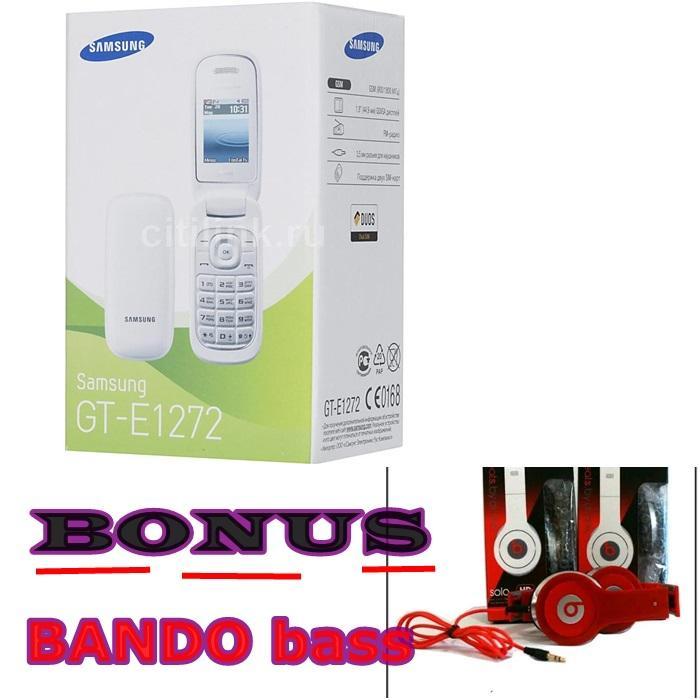 Samsung Caramel E1272 / Samsung Lipat Flip 2 Sim Card (Cabut segel pada battry) FREE Bando haedpone bass