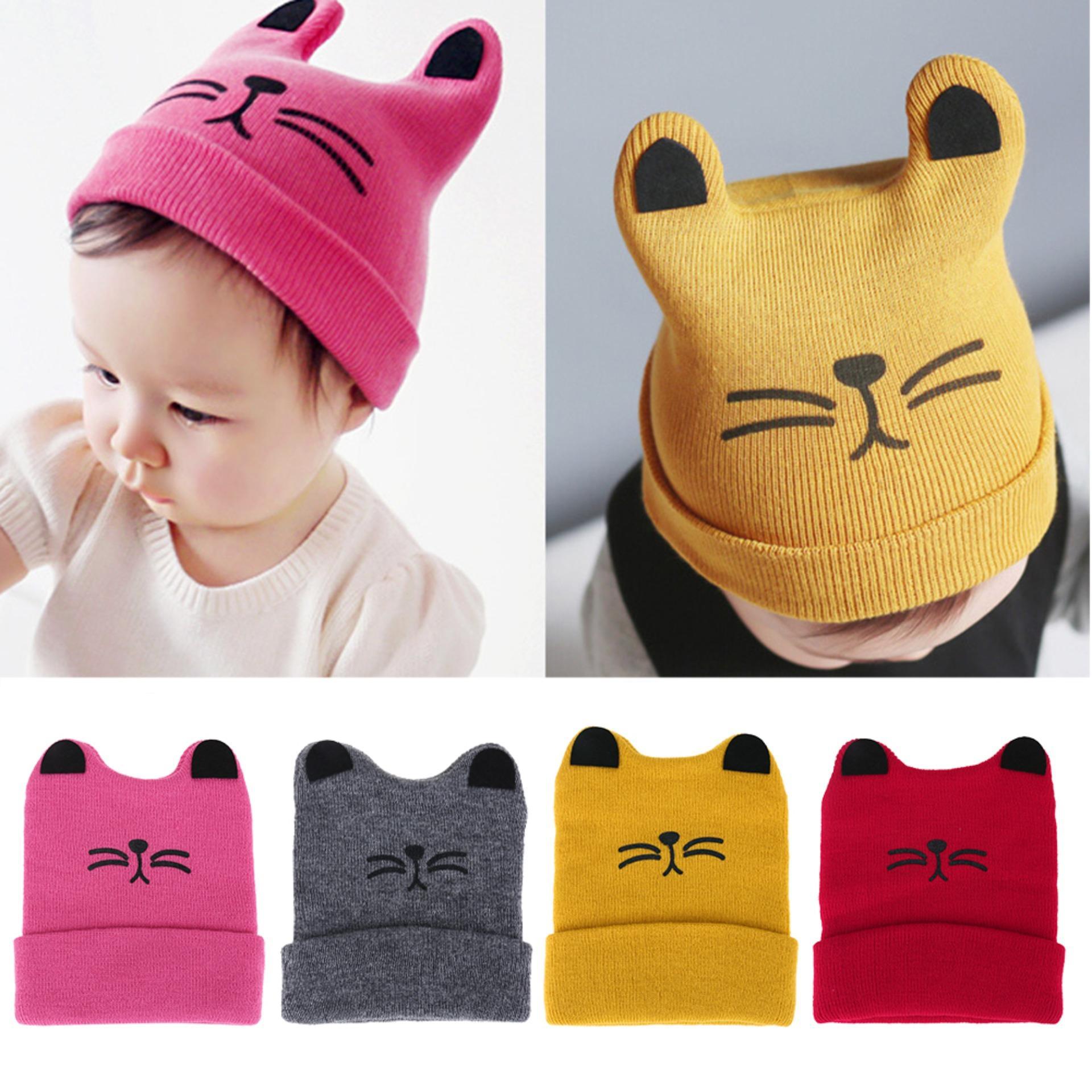 Domybestshop Bayi Topi Fashion Baru Lahir Kucing Telinga Topi Musim Gugur Musim Dingin Anak Laki-