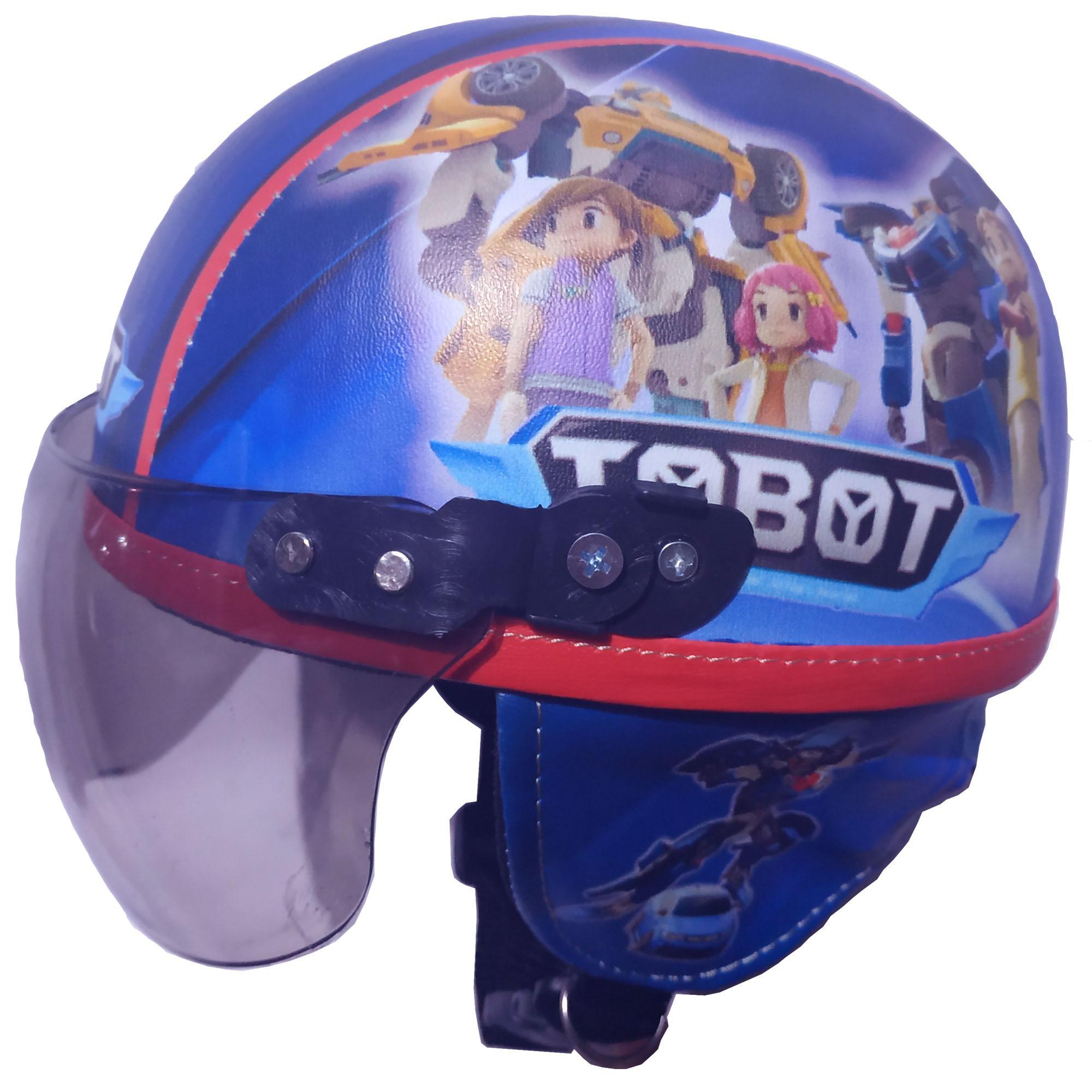 Helm Anak Anak Broco Retro Kaca Riben Lucu Usia 1 Sampai 4 Tahun Motif Tobot Biru Printing By Toserba Shop.