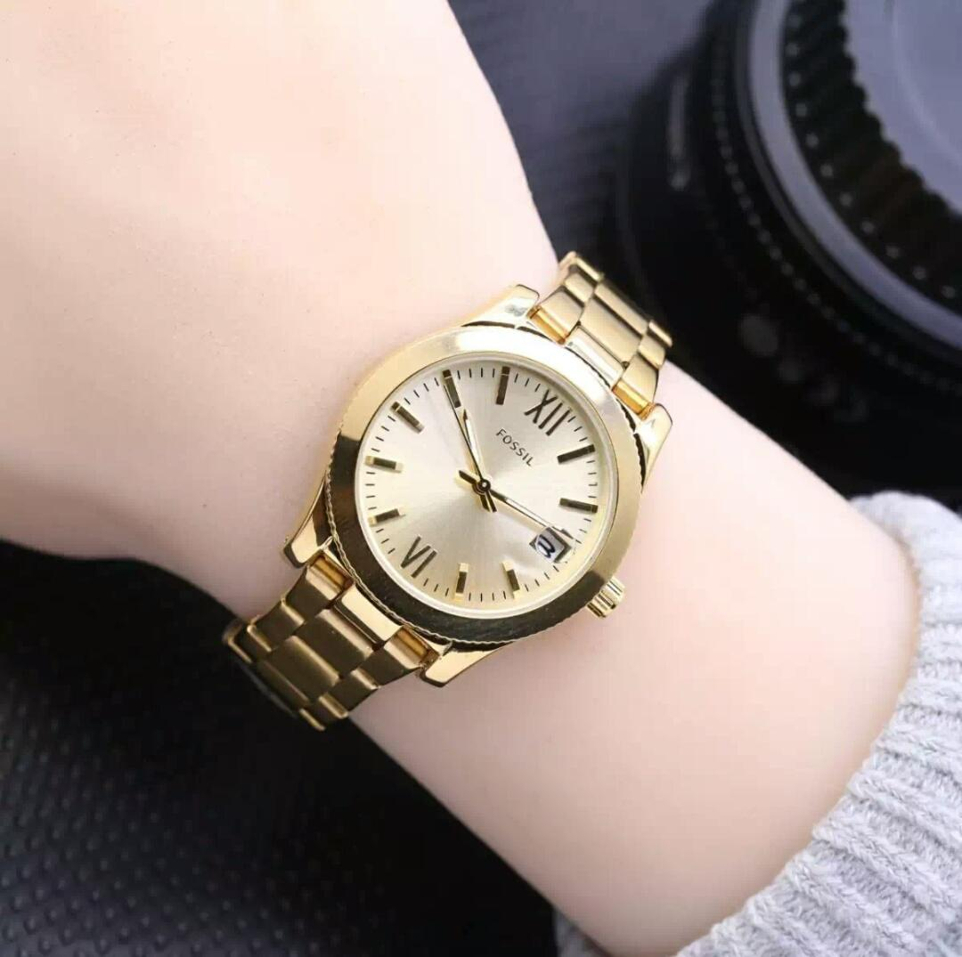 Jam tangan wanita Straap rantai stainlees steel tanggal aktif D3,2cm Harga Promo