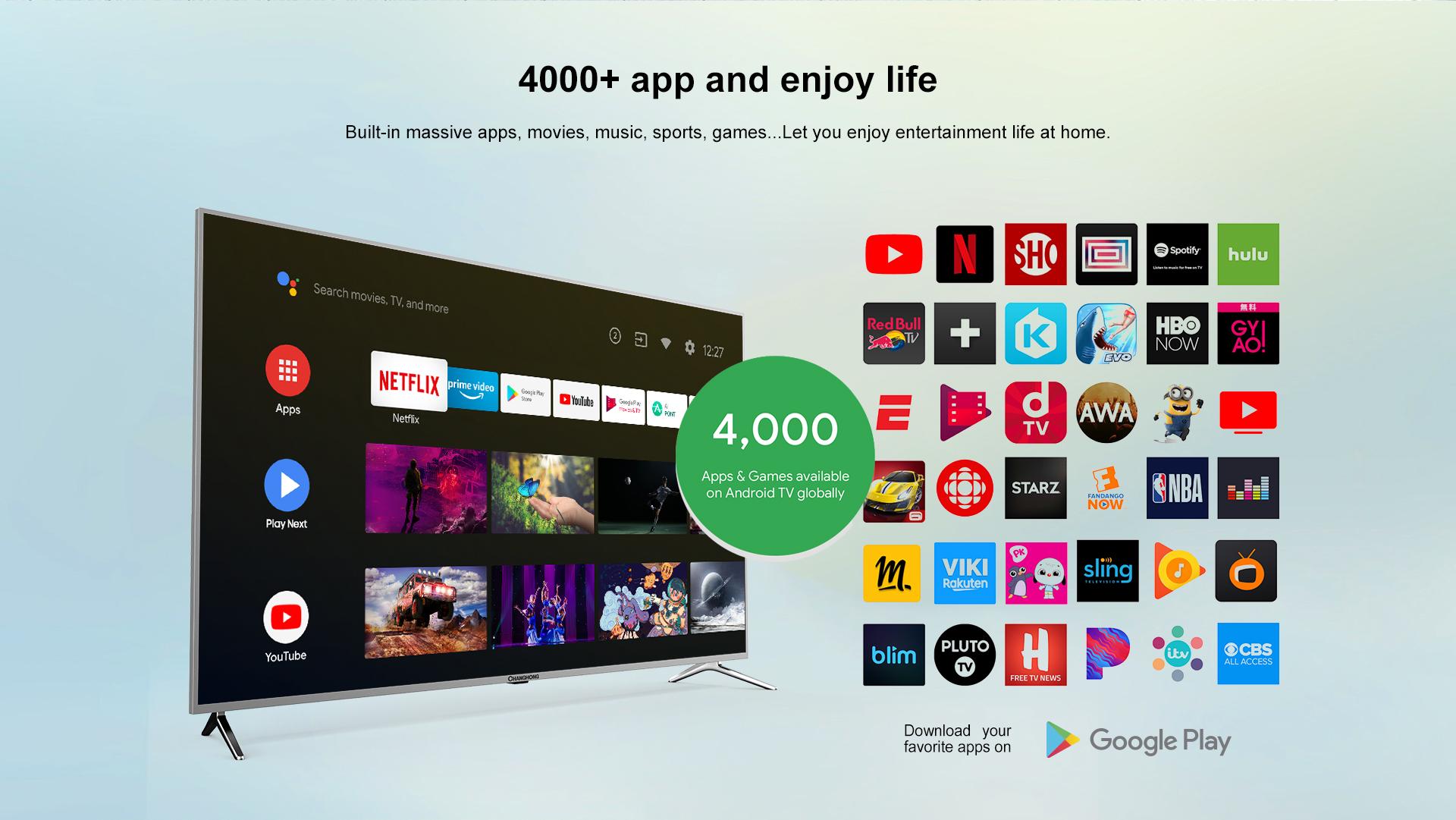 Changhong 58 Inch 4K UHD - Android 9.0 TV - google Certified - Netflix Digital LED Big Inch TV - WiFi (Model : U58H7A) Garansi Resmi 3