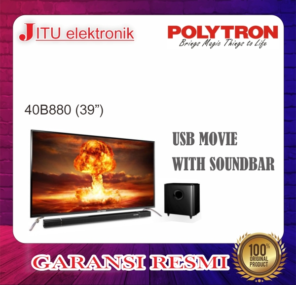 PROMO LED TV POLYTRON 39 40B880 39 INCH USB MOVIE HD HDMI SOUNDBAR
