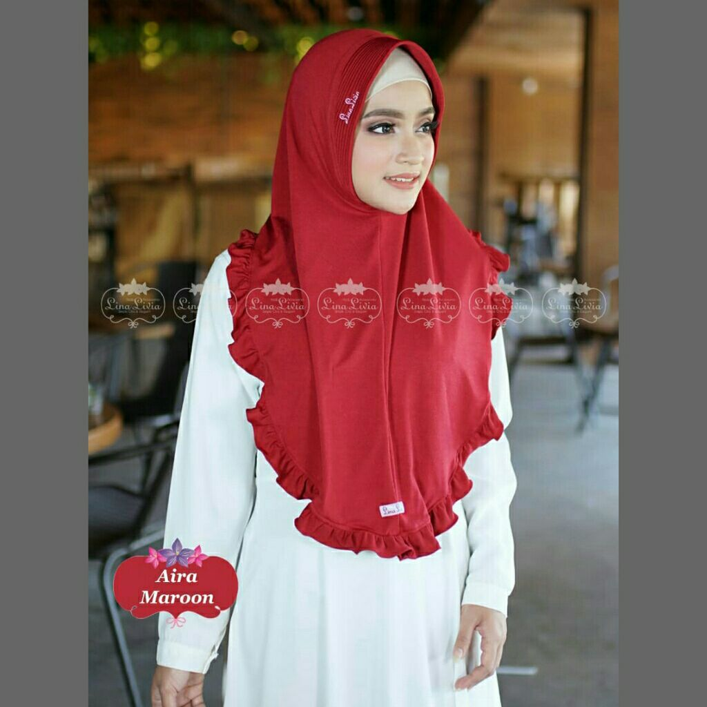 jilbab AIRA Linalivia hijab No KW kerudung bergo instan daily baju muslim atasan gamis muslimah fashion dress blus scarf arrafi linalivia flow naznin oneto carissa bisa cod bayar di tempat via jne
