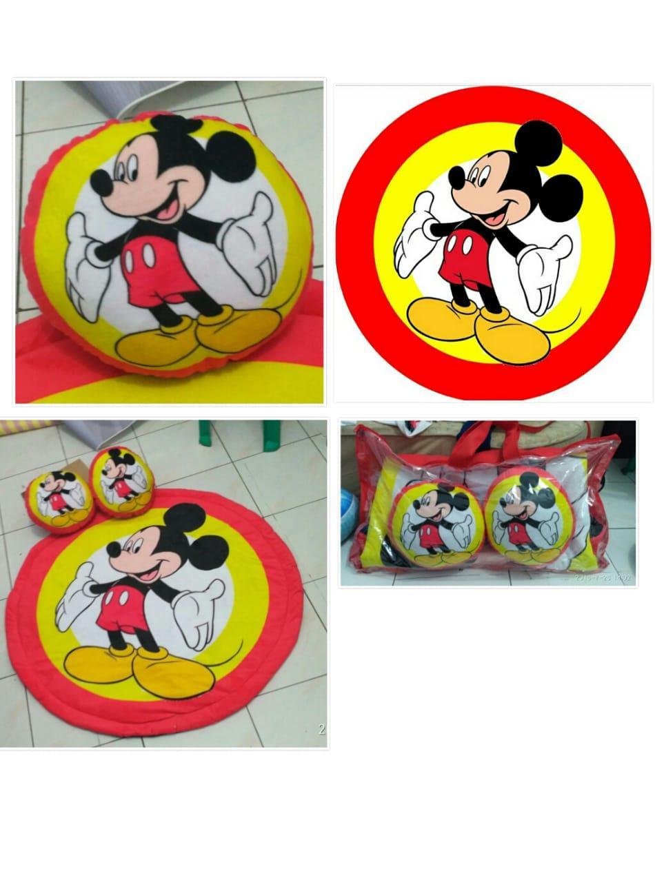 Karpet Panel Bulat Motif Mickey Mouse tebal 2 cm Halus dan Lembut