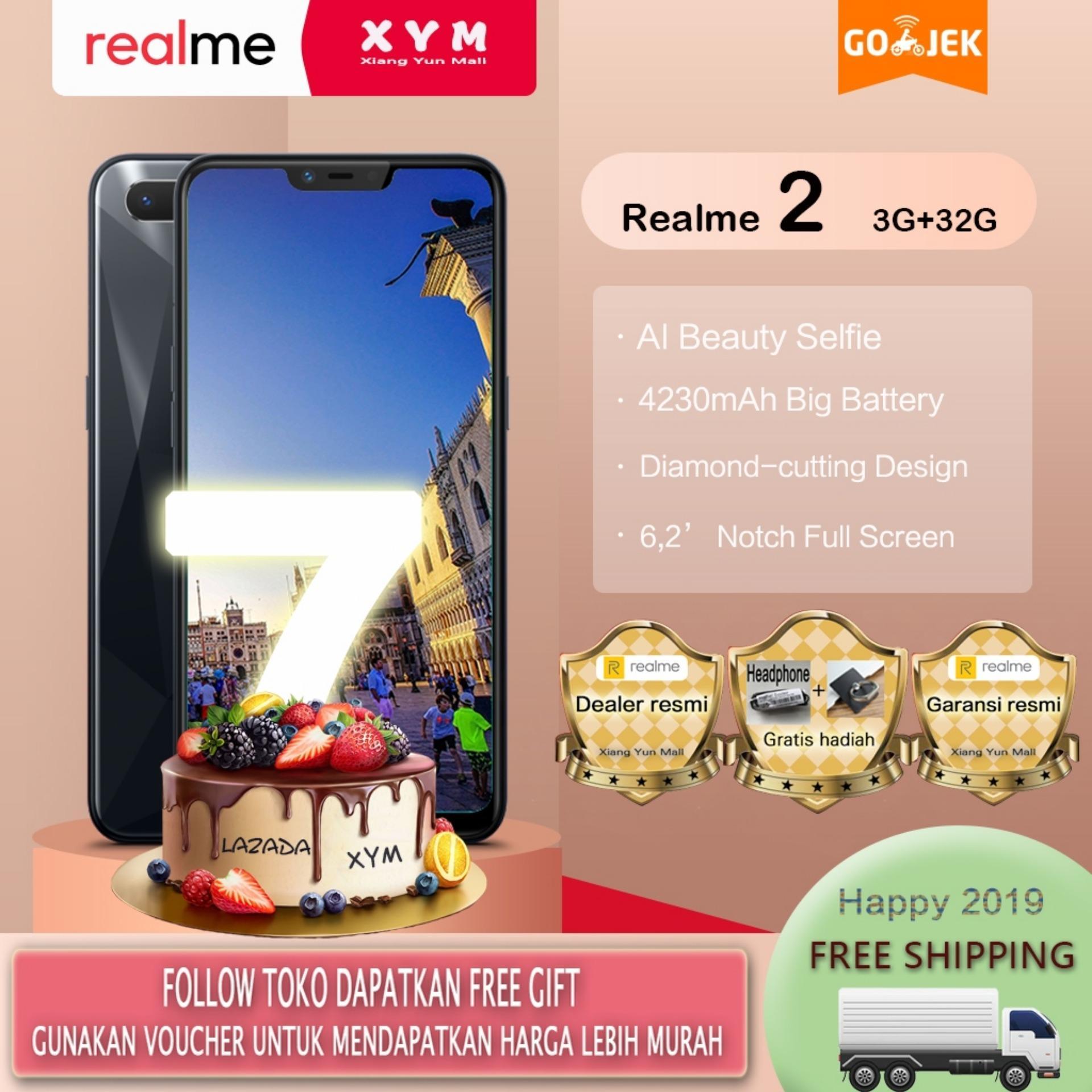 Realme 2 hp 3G/32G - COD, Gratis Ongkir, AI Facial Unlock, Fingerprint Unlock, Garansi resmi [ Please use the voucher ]