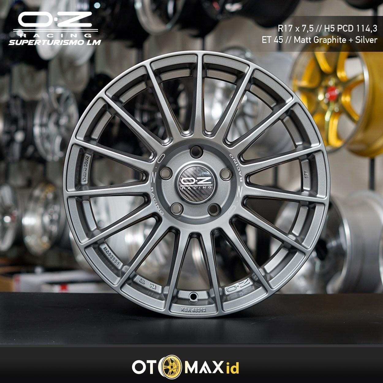 Velg Mobil OZ Racing Super Turismo LM Ring 17 Matt Graphite+Silver Lettering OZ