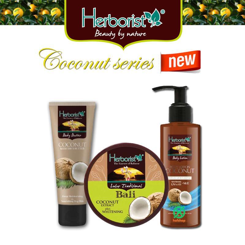 Hafshop Paket Herborist Coconut Komplit - Bodylotion / Bodybutter / Lulur- 3 Pcs By Hafshop.