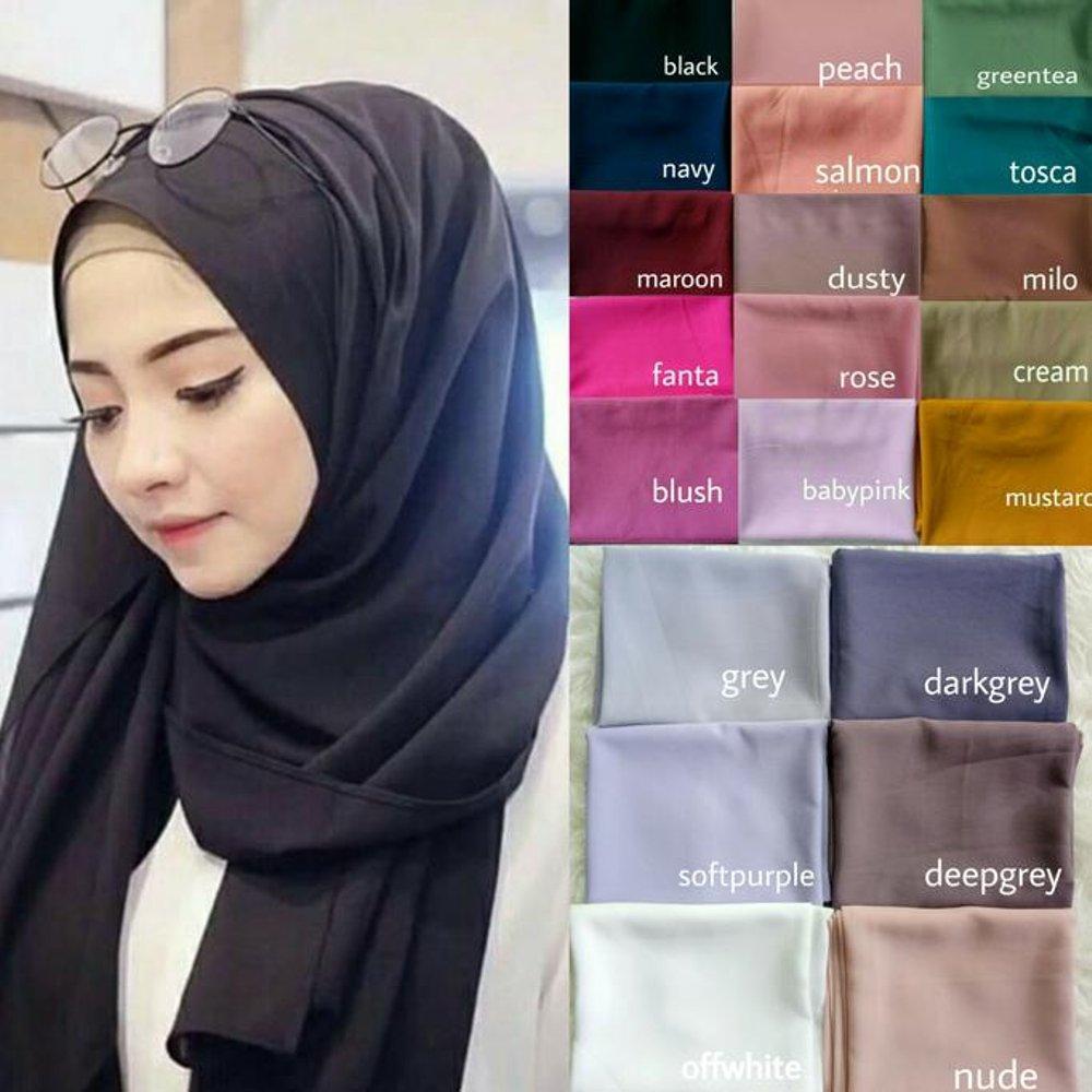 hijab pasmina polos basic diamond italians warna terlengkap / jilbab phasmina polos basic bahan diamond italians -FRS