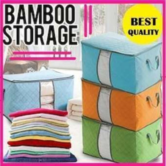 IGROSIR Bamboo Storage Bag Box Warna ( Tempat penyimpanan organizer Pakaian, Selimut, Bed cover, sprei) [Sto L]