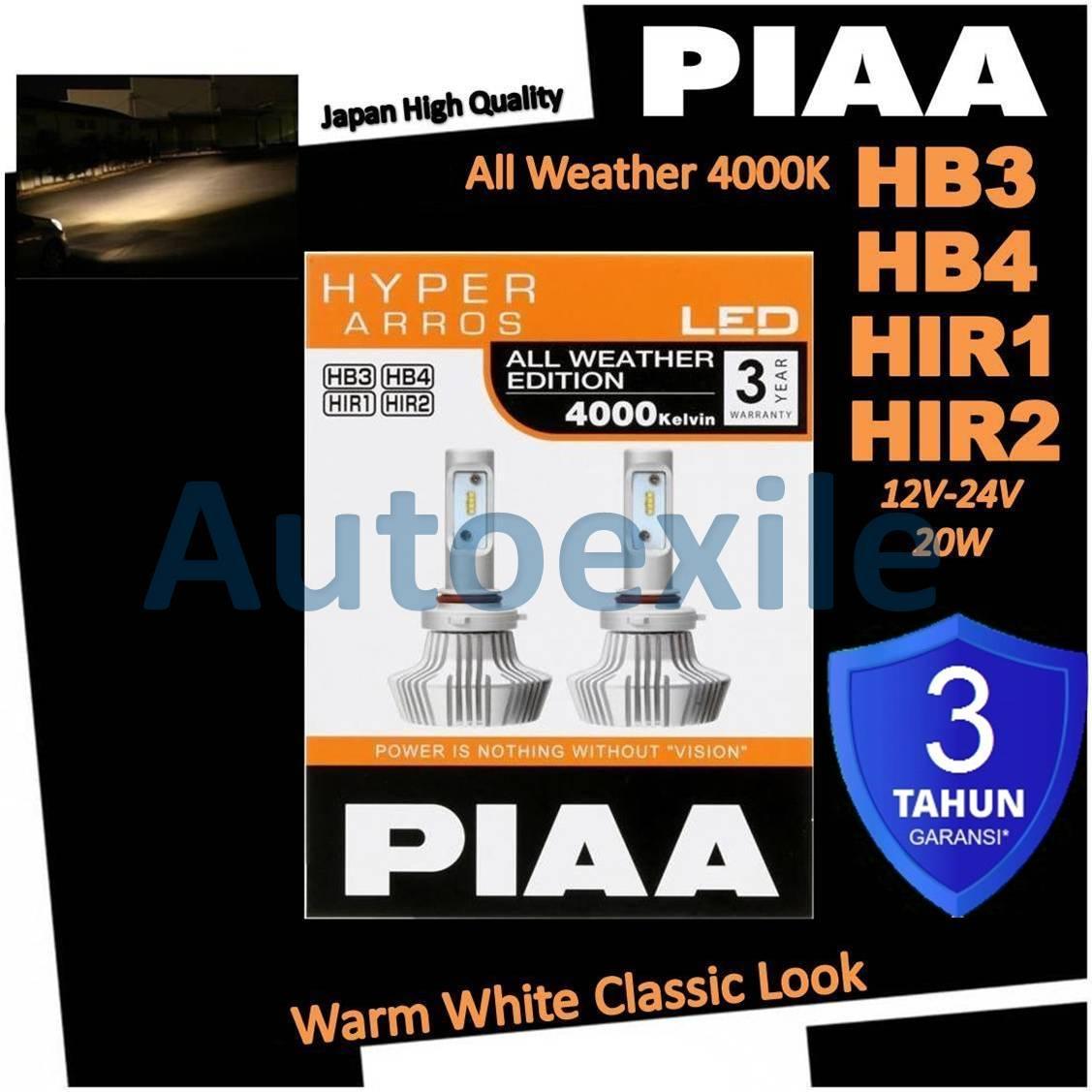 PIAA LEH131E Hyper Arros LED All Weather HB3 HB4 HIR1 HIR2 4000K Warm White Putih Kekuningan Lampu Mobil BRV CRV Innova Reborn Jazz Fortuner Rush Xenia New Pajero Terios XI New Civic Celica Outlander Sport Brio RS CHR Mobilio RS New Yaris Avanza Grandis