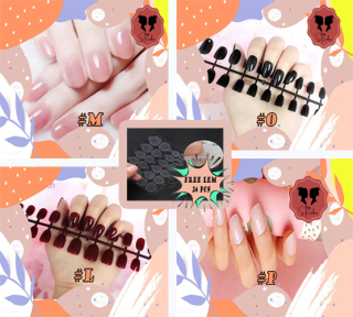 FREE LEM 24 Pcs Kuku Palsu Glossy Harga sudah termasuk lem sticker transparant 1 strip 24 pcs fake nails glossy Kuku palsu polos LEM HIGH QUALITY Kuku warna nude Nails BALLERINA Kuku oval medium TERMURAH thumbnail