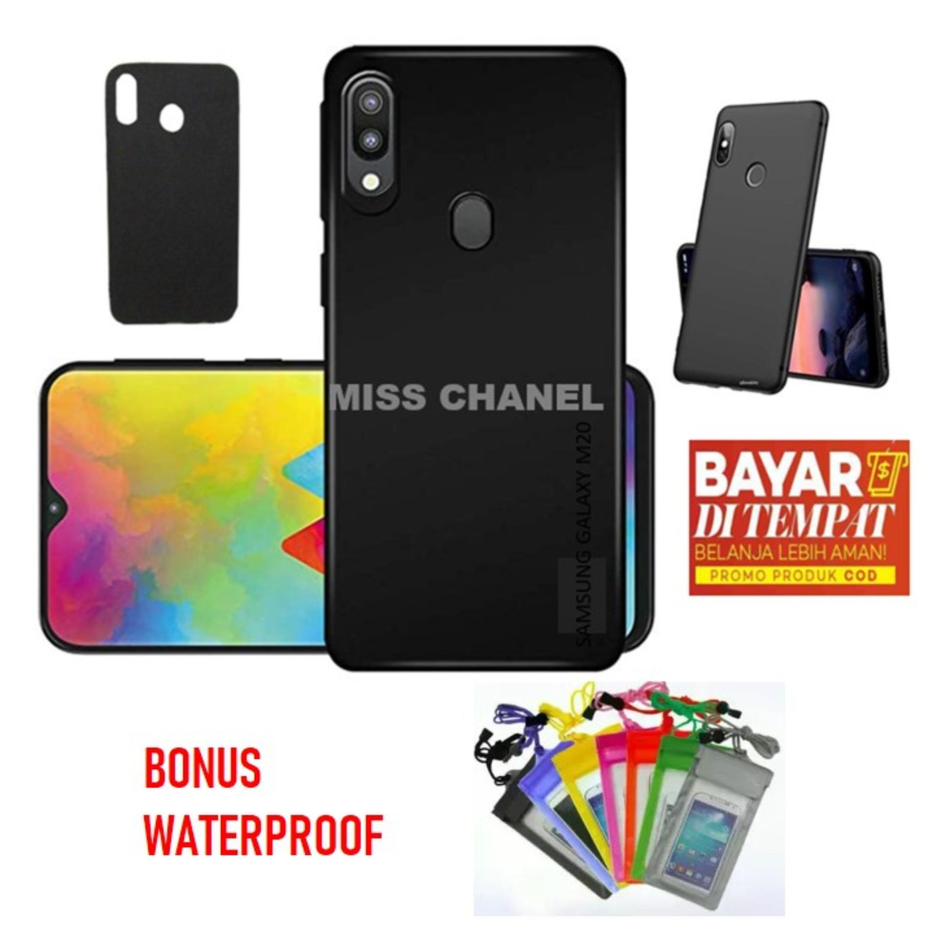 For SAMSUNG GALACY M20  Case Slim Blackmatte / Case Samsung Galaxy M20   Blackmatte TPU Anti Slip  / Case Samsung Galaxy  M20 - Full Hitam  Bonus Waterproof