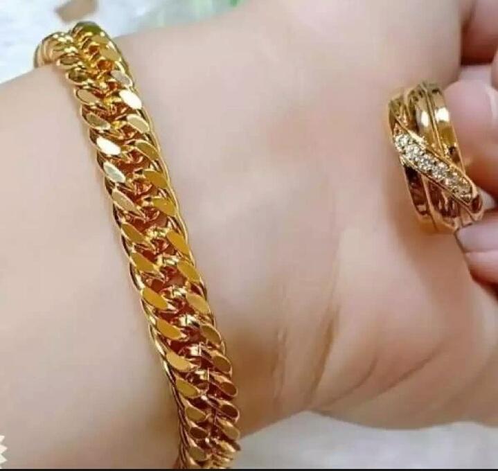 Perhiasan xuping set gelang rante polos free cincin