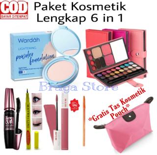 Paket Make up Paket Kosmetik Lengkap Bedak Wardah 6 in 1 - Bedak - Eyeshadow - Mascara - Eyeliner - Lipcream - Pensil Alia - Gratis Tas kosmetik Pouch thumbnail