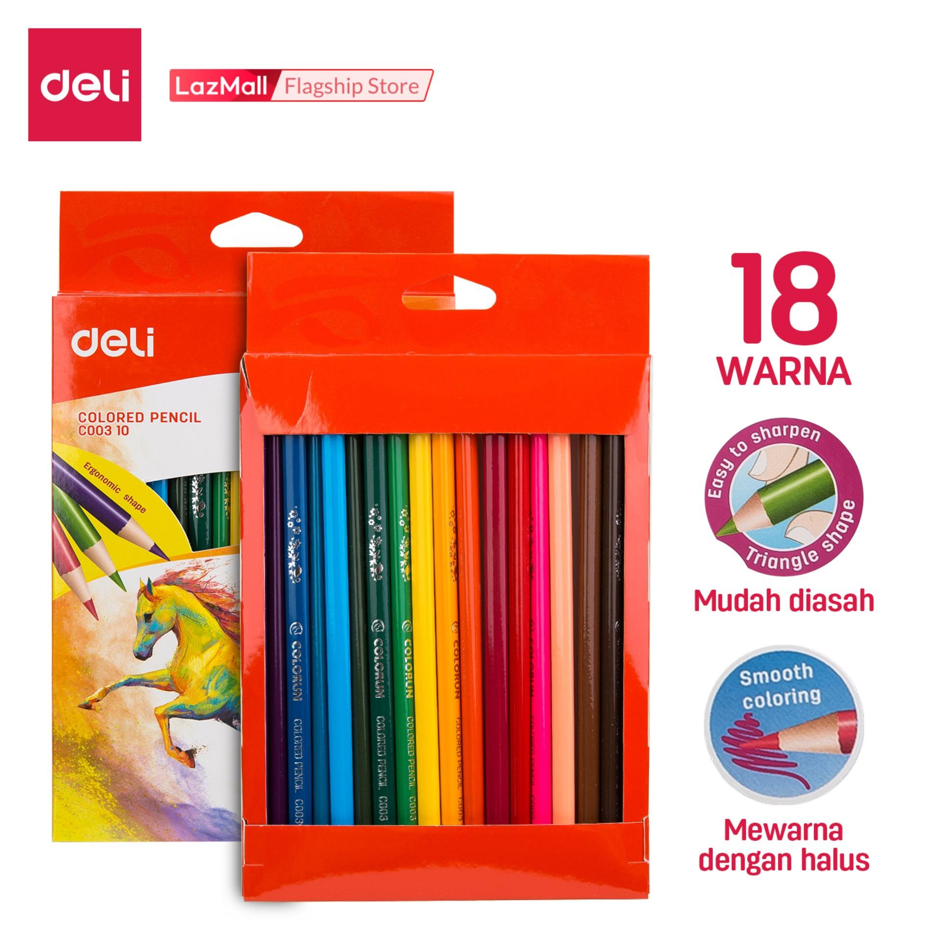 Deli Pensil Warna Sekolah / School Color Pencil - 18C 18warna/box / 18color/box - COLOR RUN Terbuat dari poplar, mudah dipertajam, timah berkualitas / COLOR RUN Made from poplar, easy to sharpen, Good quality lead (EC00310)