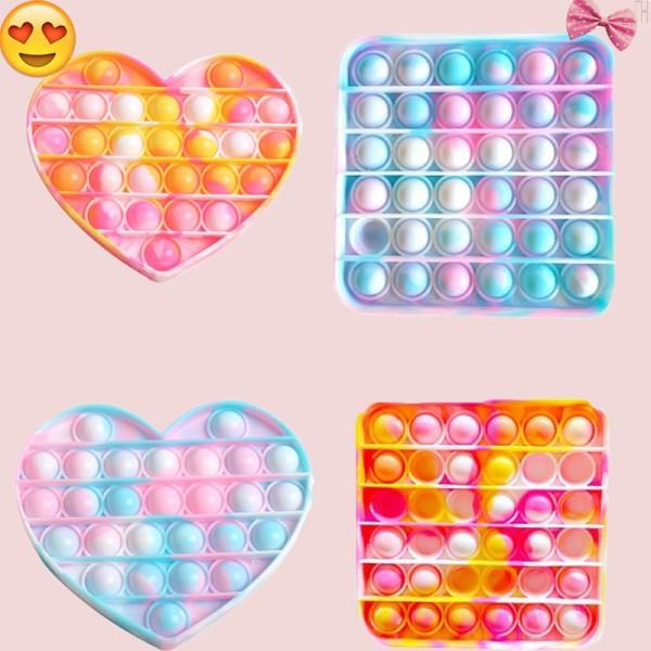 Đồ chơi bấm bong bóng giải tỏa căng thẳng độc đáo sáng tạo Pop It Tiktok Push Pop Fidget Toy Bubble Unicorn Rainbow Square Heart Đồ Chơi Stress Relief Special Needs Silent Classroom Tiktok Board Game Đồ Chơi Giáo Dục For Kids