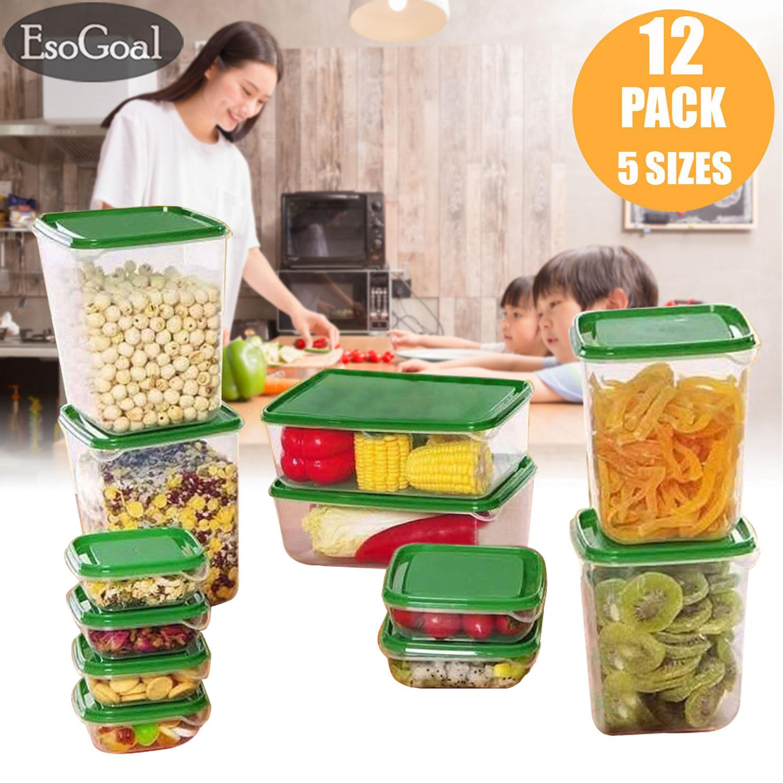 EsoGoal 12 PCS/set Food Storage Box Refrigerator Tupperware Kitchen Dining Container Dispensers Food Storage