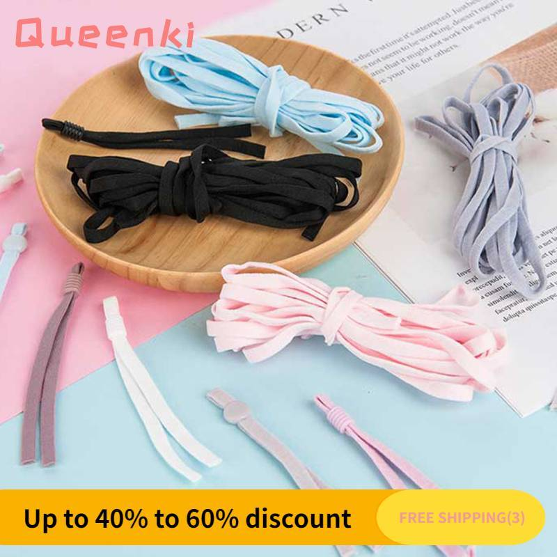 Queenki【COD】【FREESHIPPING】Ready Stock 50pcs Disposable Color Face Mask Elastic Band Ear Strap