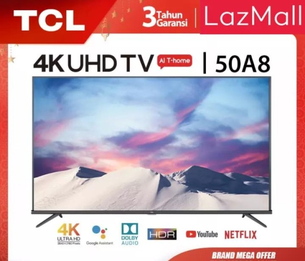 TCL 55 inch Smart LED TV - Android 9.0 - 4K Ultra HD - Google Voice/Netflix/YouTube - WiFi/HDMI/USB/Bluetooth Dolby Sound (Model : 55A8)