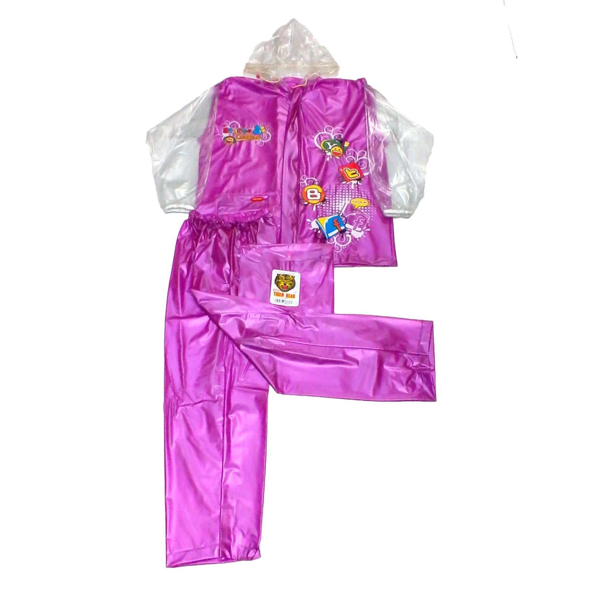 Tiger Head Jas Hujan Setelan Olympic Remaja - Raincoat Jaket Celana Pria Wanita Murah - Ungu