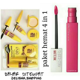 Maybelline 4 in 1 Mascara + Eyeliner + Powder Compact The Colossal + lipcream maybelline matte ink thumbnail