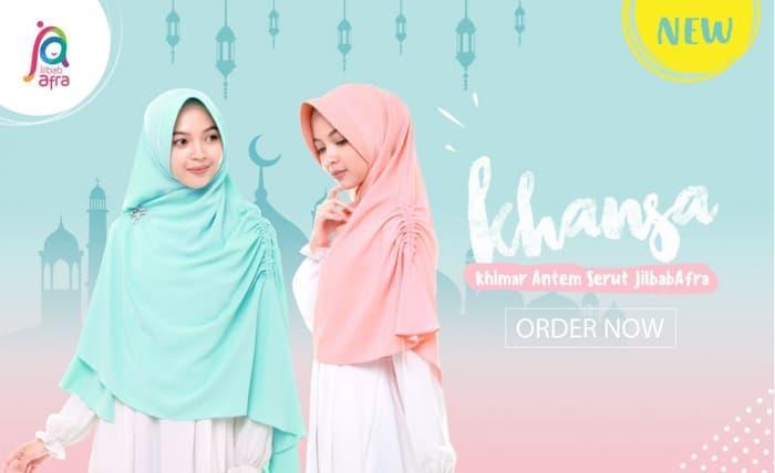 AZARIA'- Jilbab Afra Model KHANSA (Khimar Serut Samping ) Size M