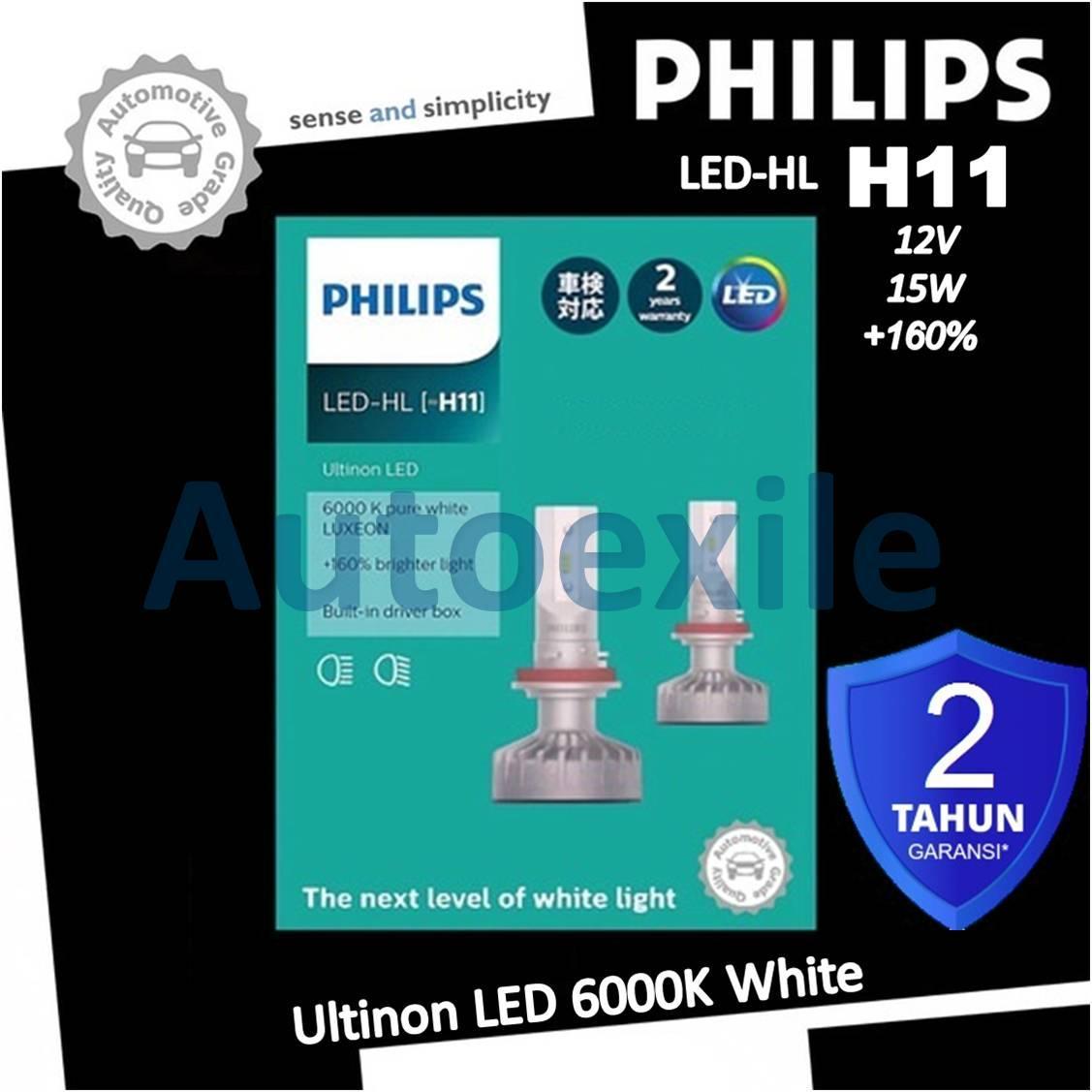 Philips Ultinon LED HL H11 12V 6000K Putih Head Lamp Lampu Mobil Innova Reborn Civic Sienta