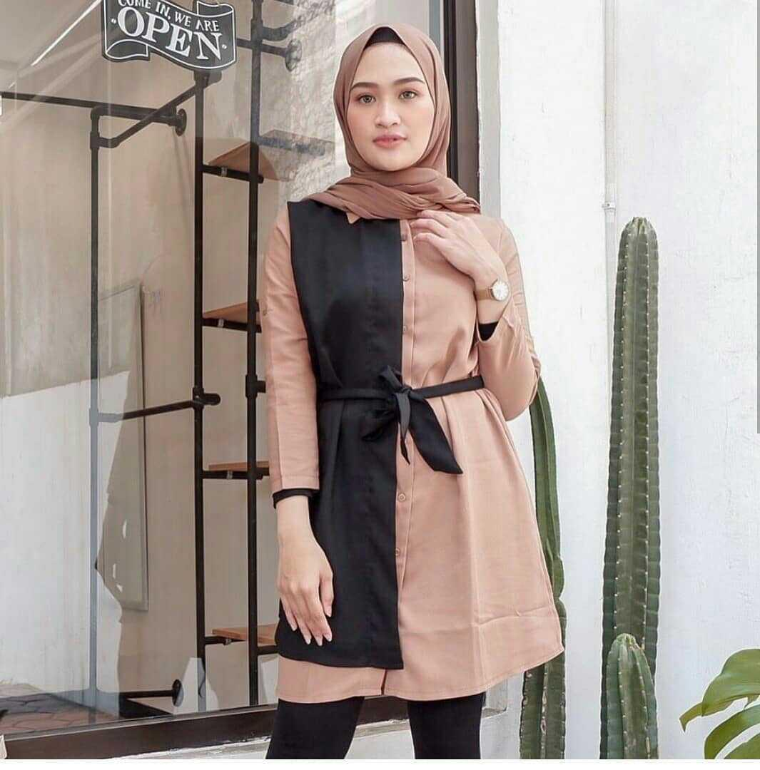 Baju Original TESI TUNIK Moscrepe Atasan Modern Tunic Terbaru Fashion Lengan Panjang Wanita Kerja Blouse Modis Pakaian Perempuan Casual Elegant Blus Hijab Trendy Muslimah Simple Top Termurah Kekinian Baju Modis Fashionable 2019