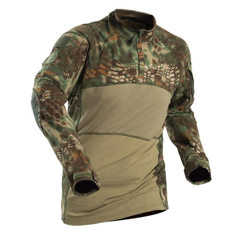 Taktis Kemeja Militer Lengan Panjang Pria Solid Kemeja Tentara Seragam  MultiCam Pakaian Kodok Kaos Tempur Pakaian 28cc00ca59