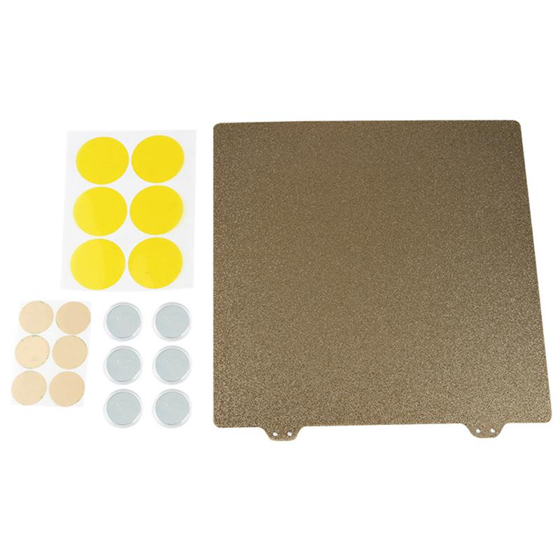 3D Printer Hot Bed Gold Double Layer Texture Pei Powder 235Mm Steel Plate+6x Magnetic Block for Creality Ender 3,Ender 3 Pro,Creality Cr-20,Ender 5