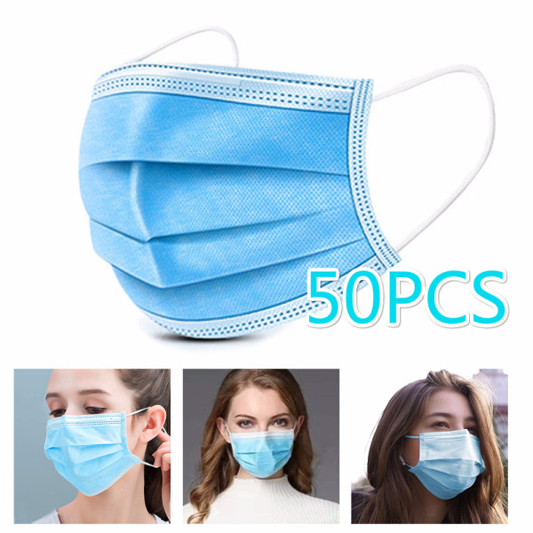 Canglex 【On Sale】 50pcs Facial Masks Disposable Breathable Skin-friendly Soft Non-woven 3 Layers Filtration Fabric Dust-proof Face Shield