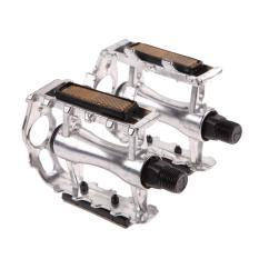 1 Pasang BMX MTB Sepeda Gunung Paduan Aluminium 9/40, 64 Cm Pedal Flat (Silver)