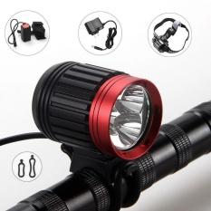 10000lm Rechargeable Bike Bicycle 3X Cree XML T6 LED Depan Lampu Utama Headlamp-Intl