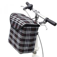 10L Lipat Depan Kanvas Sepeda Gagang Keranjang Keranjang Penyimpanan Pembawa Ember Padat dengan Cover (Hitam)-Intl